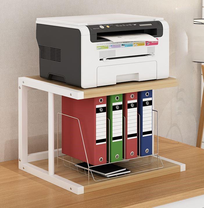 프린트거치대 프린터선반 인쇄기 캐비닛 스탠드형 이동식 사무실 수납 선반 손수레 접지력 슬라이딩 선반 바퀴조립 물건 다층 컴퓨터책상 본체 수납 프린트, E2 오크 + 화이트프레임