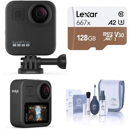 GoPro MAX 방수 360 카메라 + 터치 스크린이있는 영웅 스타일 비디오 구형 5.6K30 UHD 비디오 128GB micr, 상세 설명 참조0