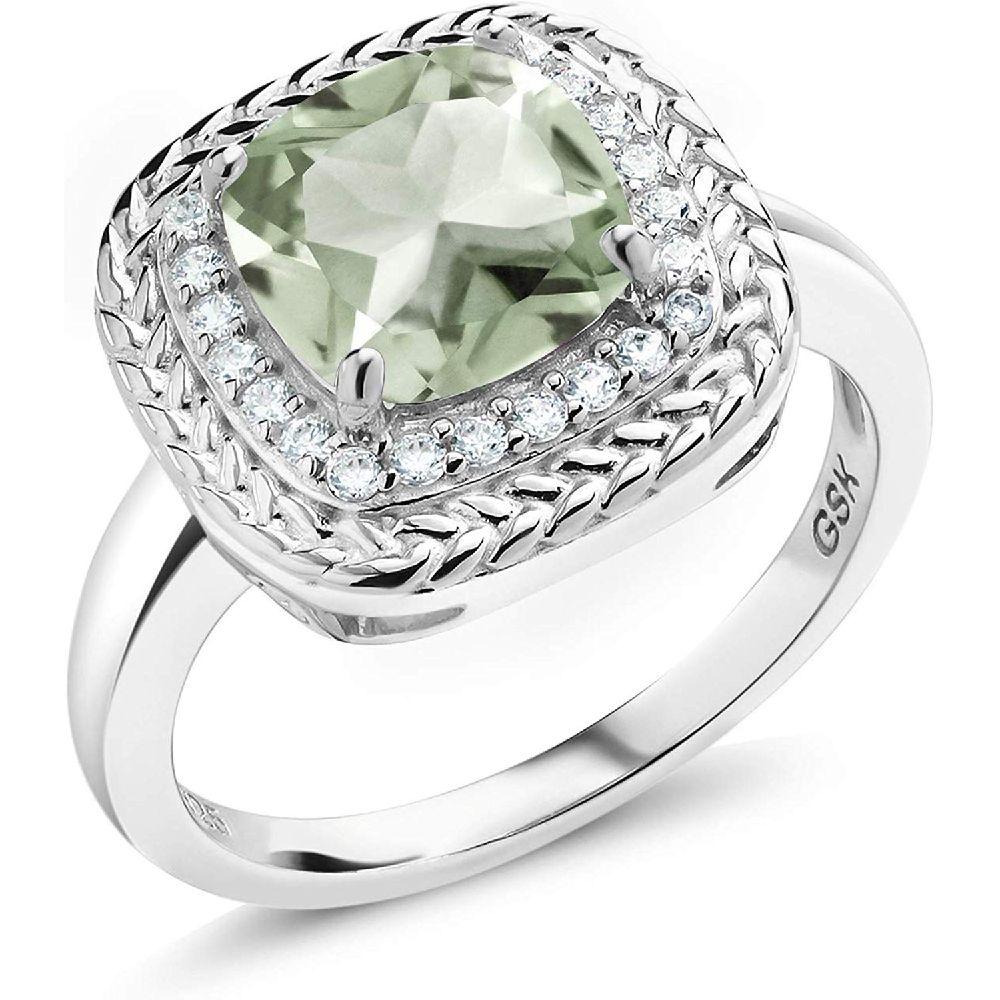 보석 돌 왕 925 스털링 실버 녹색 Prasiolite 약혼 반지 2.05 카운트 쿠션 컷 보석 탄생석