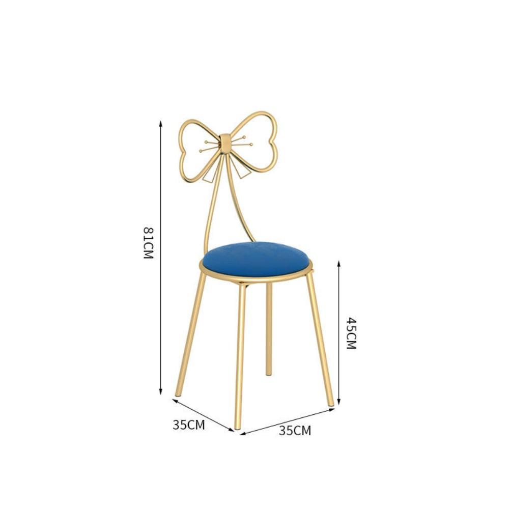 북유럽 의자 인테리어 등받이 메이크업 침실 카페 리본 화장대 거실 40대 엄마 생일 선물, D.호비의자 블루 융단 방석 (POP 5592945405)