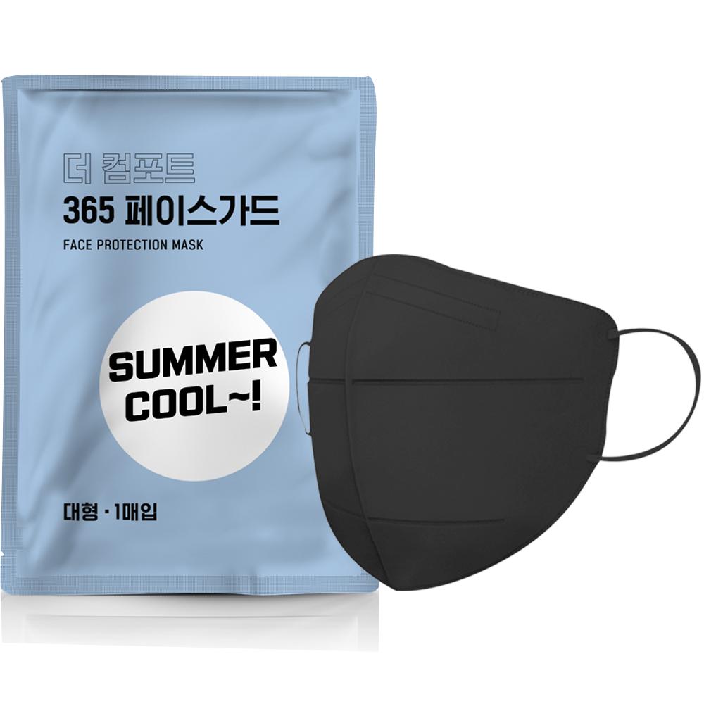 국내생산 당일출고 숨쉬기편한 여름용마스크 Summer Cool Black 대형 10매, 1개