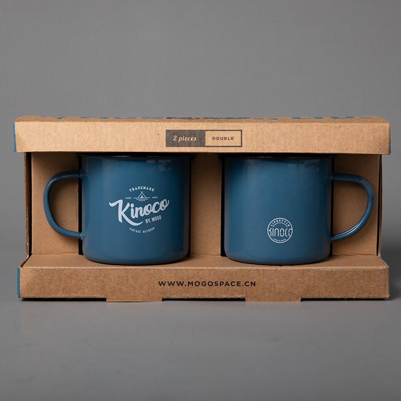 캠핑컵 아메리카식 빈티지 법랑 컵 아이디어 야외 마크 밀크 커피 따뜻한음료수 클래식한, T02-법랑 컵(블루 2개)
