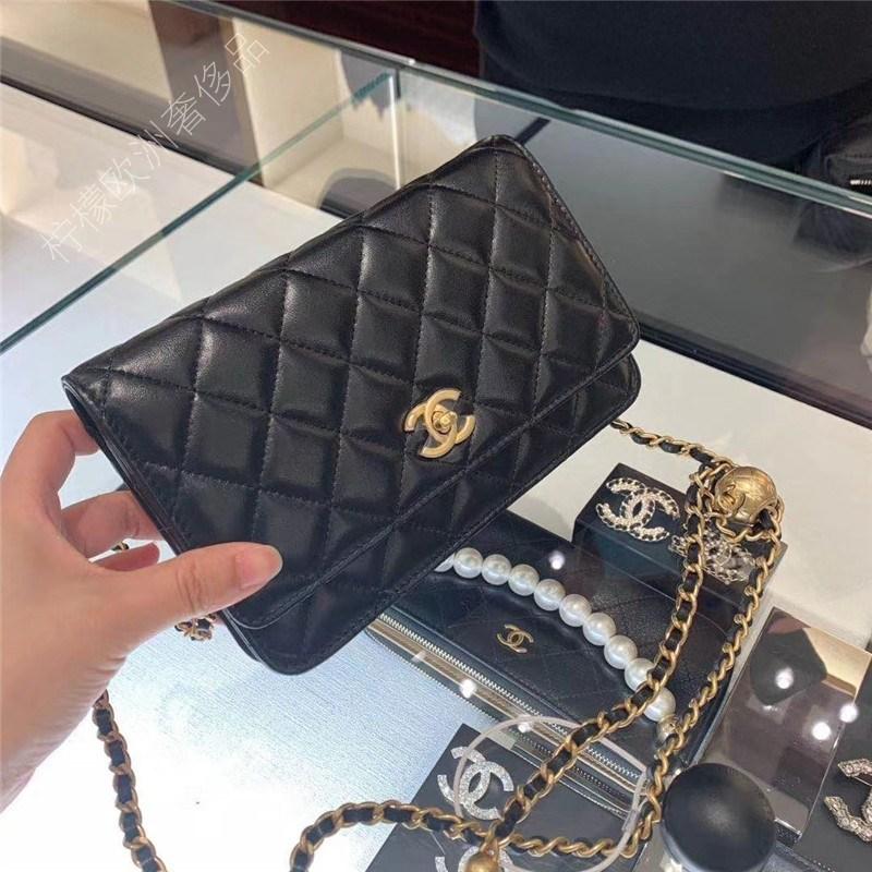핸드백 20 뉴 골드 비즈 작은 황금 공 WOC 포춘 가방 숄더 메신저 체인 백 마름모