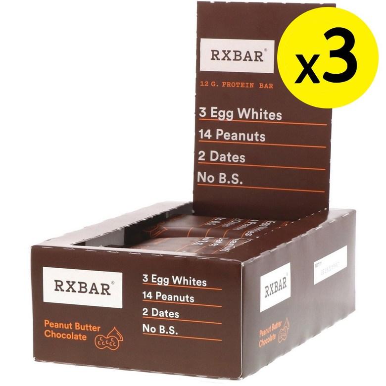 RXBAR Protein Bar Peanut Butter Chocolate 12 Bars 1.83oz (52g) Each 3개, 선택, 상세설명참조