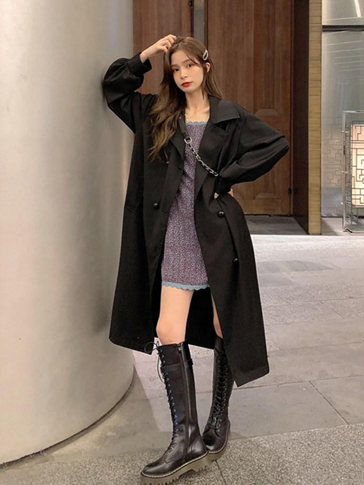 트렌치코트 작은 중간 길이 기질 여신 팬 윈드 브레이커 재킷 여성 가을 2020 한국 스타일 유행 코트