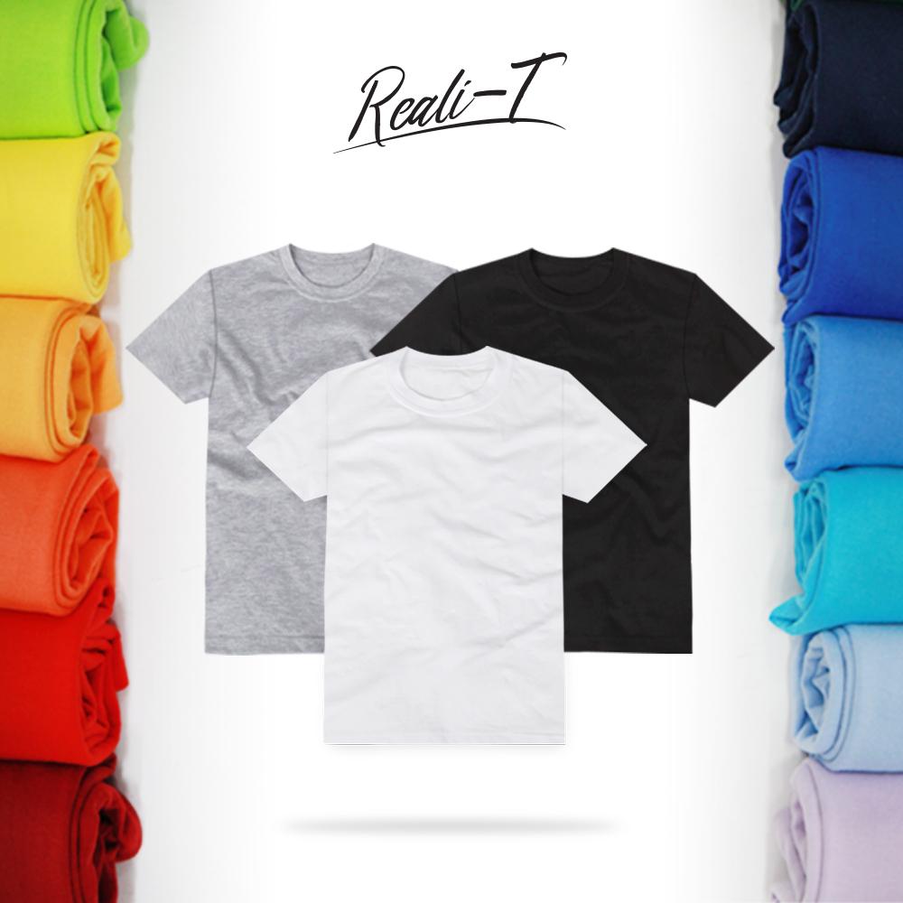 리얼리T 남녀공용 30수 라운드 무지 반팔티 반팔 티셔츠