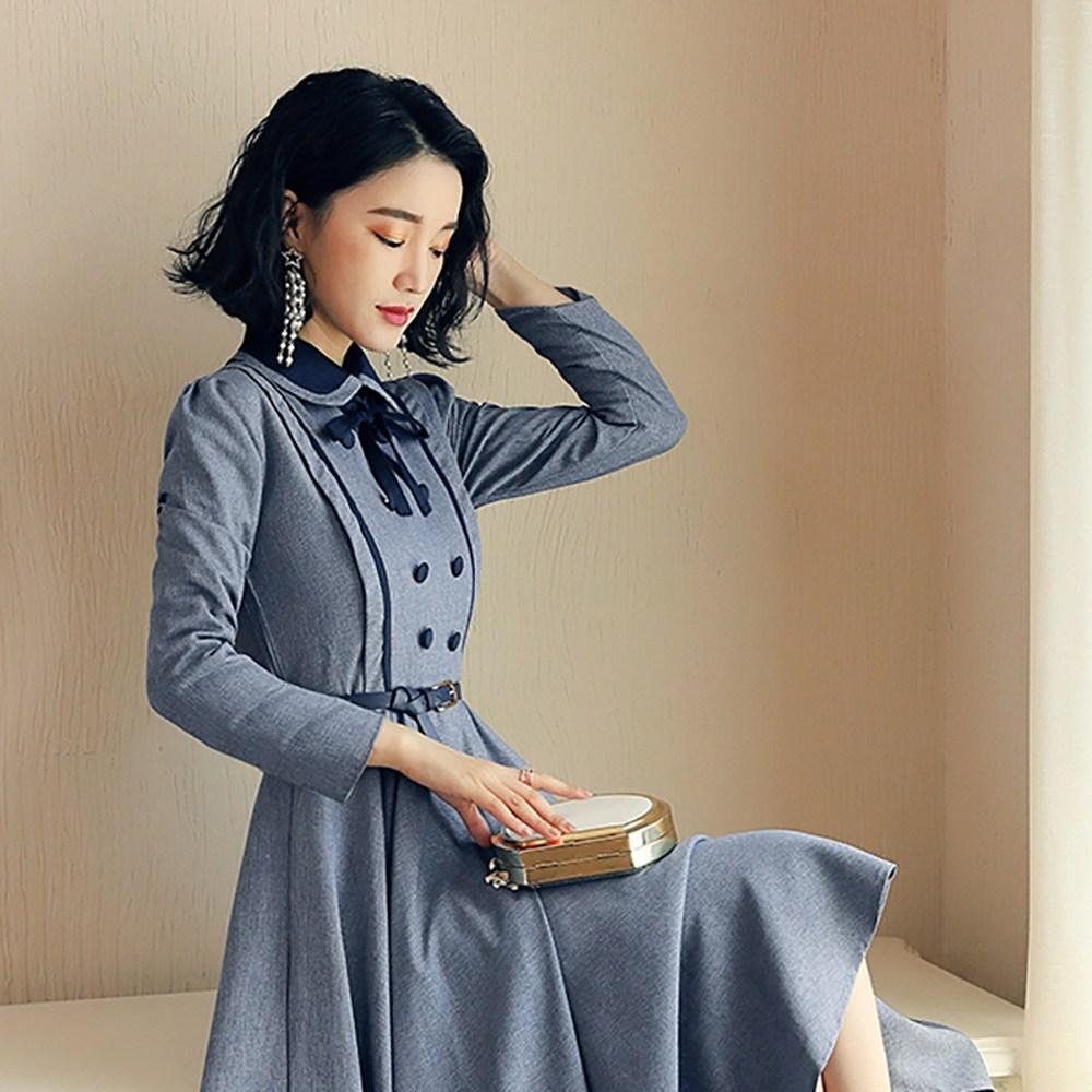 더블버튼 복고풍 원피스 컨셉 코스프레 졸업사진 패션 의상