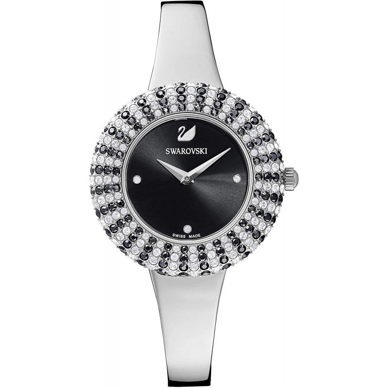 스와로브스키 시계 크리스탈 로즈 M©탈 브레이슬릿 블랙 무산화 강철