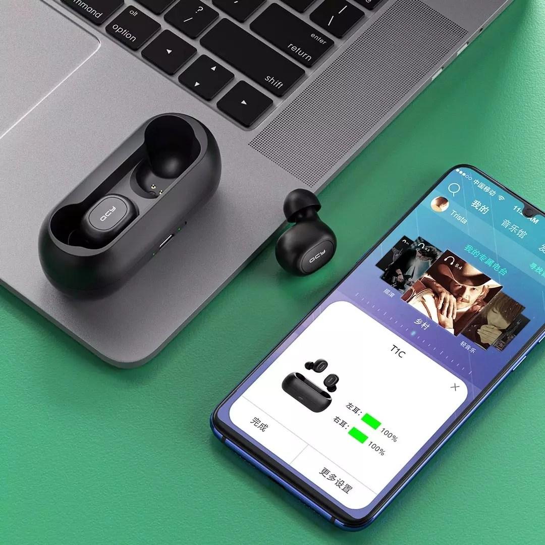 샤오미 QCY T1C 스마트 버전 app 연동 ENC 노이즈 감소, 블랙