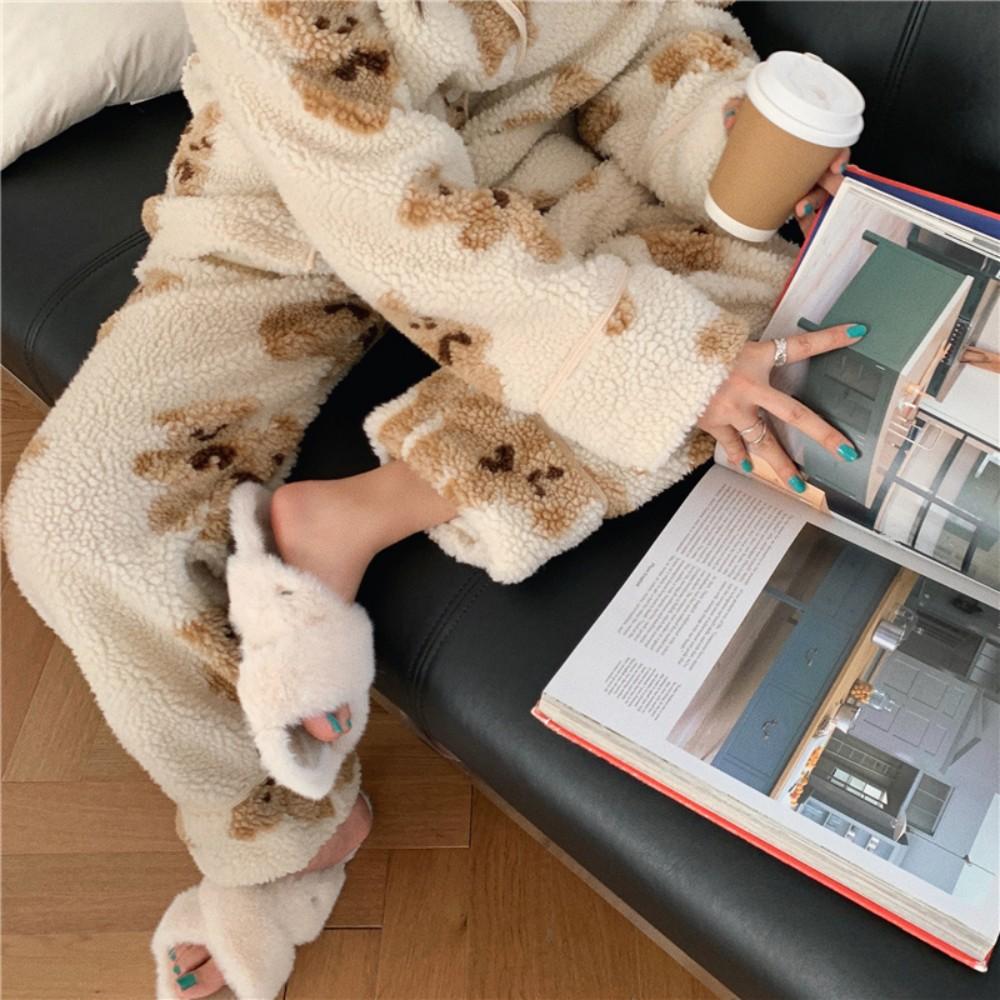 여성 뽀글이 곰돌이 기모 수면 극세사 크리스마스 파자마 양털 겨울홈웨어 잠옷