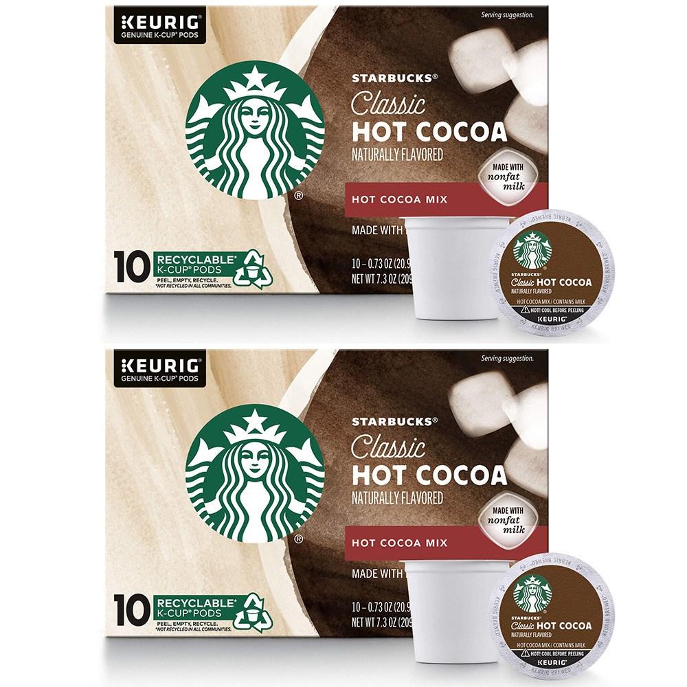 스타벅스 Starbucks Classic Hot Cocoa K-Cup for Keurig 클래식 핫 코코아 K-컵 큐리그 10캡슐 2팩, 1세트, 1ml