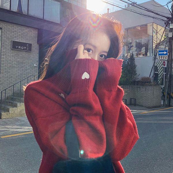 안나리야 루즈핏 하이넥 귀여운 하트 니트 스웨터 SH