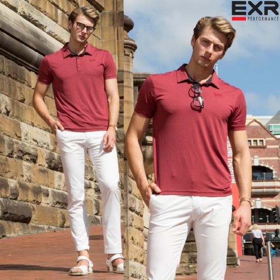 EXR [EXR] 남성 싱글 카라 티셔츠 멜란지버건디