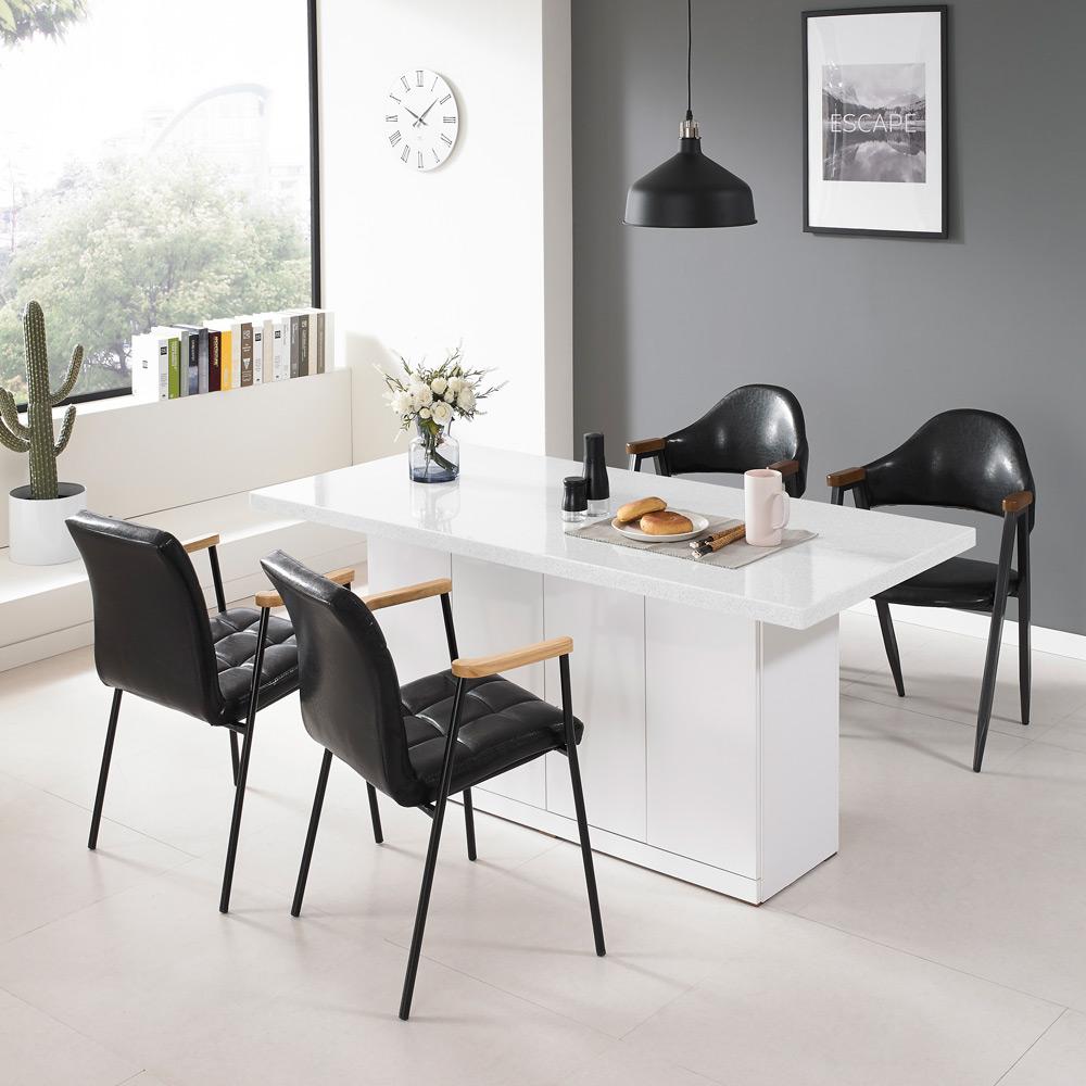 퍼니아트 인조대리석 아일랜드 식탁 홈바 테이블 B150_750, 화이트