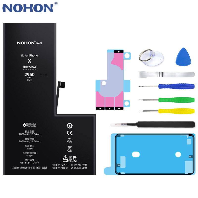 NOHON 노혼 배터리 대 한 iPhone SE 6 6S 7 8 Plus X XR XS Max iPhone7 iPhone6S 플러스 교체 Battery Hot Deal, For iPhone X 2950mAh