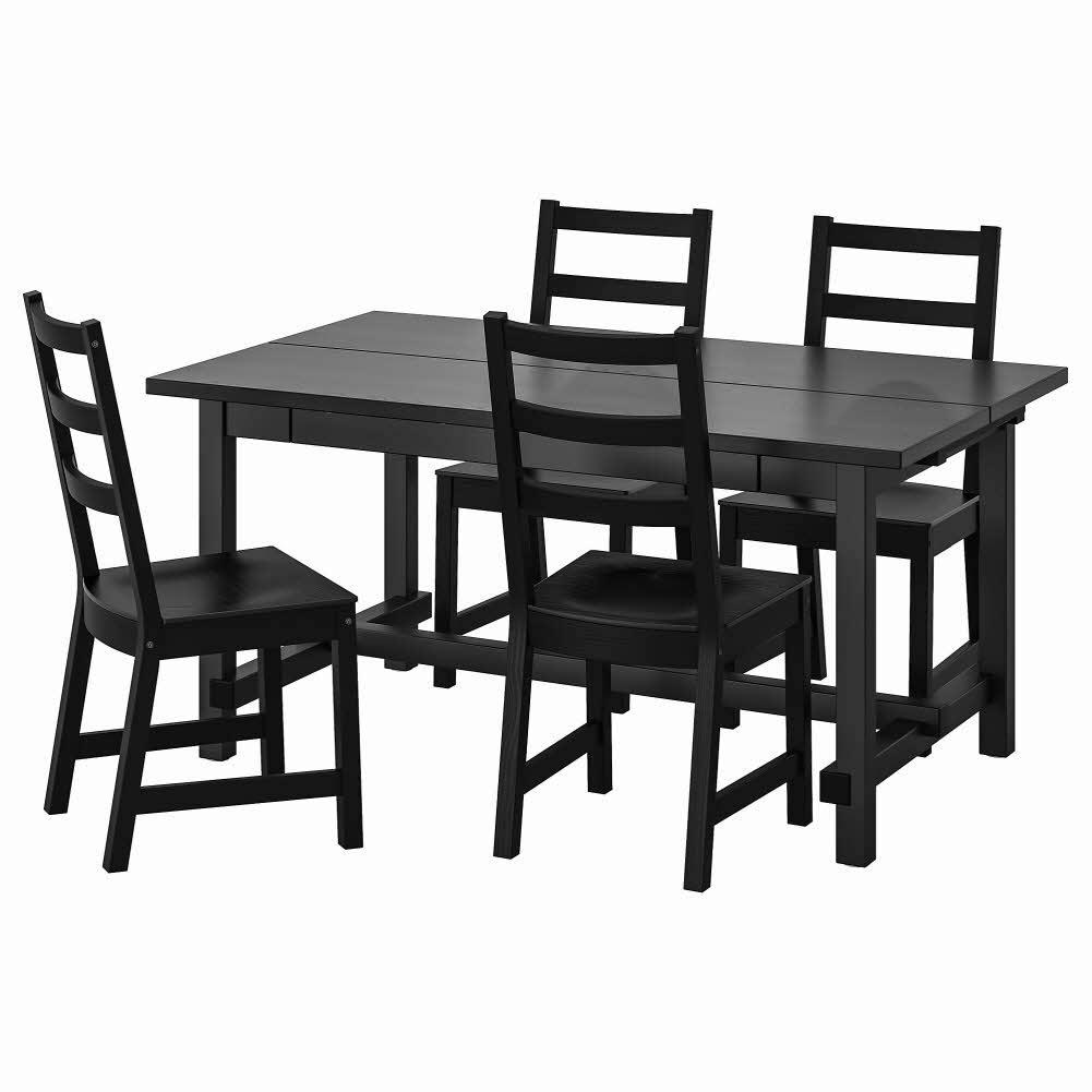 테이블+의자4 블랙 블랙 NORDVIKEN NORDVIKEN 152 223x95 cm, 기본