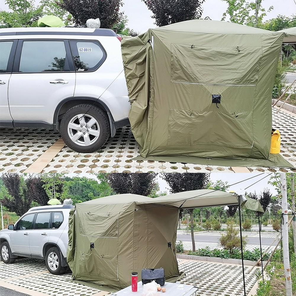 캠퍼 SUV 차박텐트 도킹텐트 차량용 캠핑 캠핑용품 트렁크 그늘막 어닝 꼬리텐트, 밀리터리