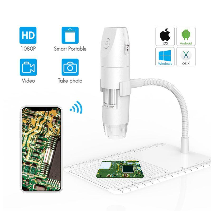 WiFi USB 플렉시블 암 관측 스탠드가 있는 무선 디지털 현미경마이크로스코프, 01 50X to 1000X