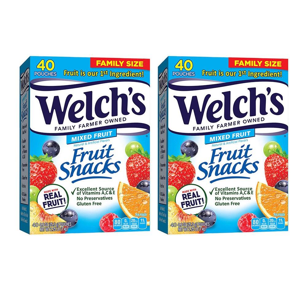 웰치스 과일 젤리 믹스 후르츠 스낵 40봉지 1kg 2팩 Welch's Mixed Fruit Snacks