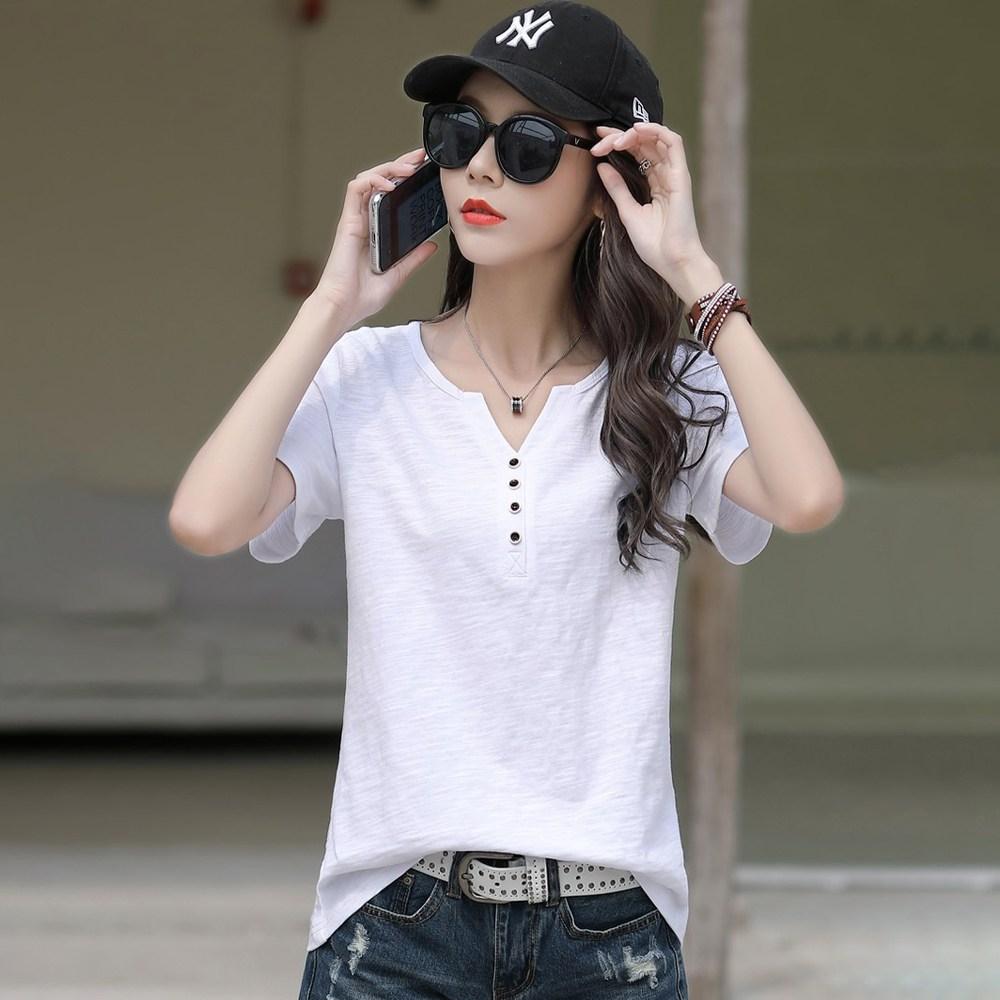 여름 여성용 빅사이즈 화이트 브이넥 반팔 티셔츠