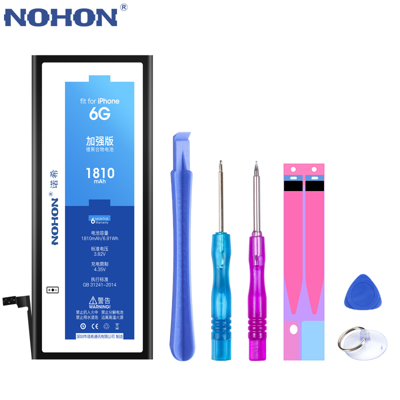 NOHON 노혼 배터리 대 한 iPhone SE 6 6S 7 8 Plus X XR XS Max iPhone7 iPhone6S 플러스 교체 Battery Hot Deal, For iPhone 6 1810mAh