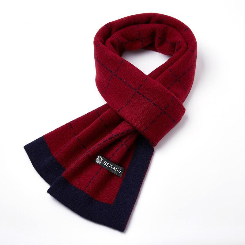 몽골캐시미어 삼각숄 판초 새로운 100 순수 캐시미어 붉은 격자 무늬 스카프 남성