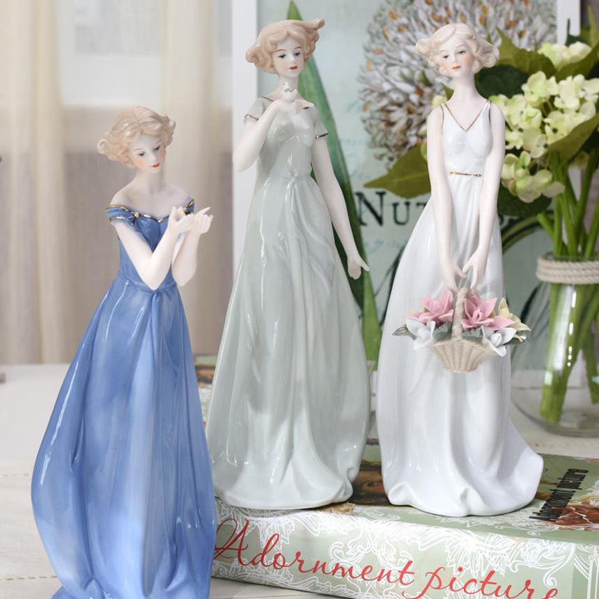 헤이플로 도자기 인형 피겨린 포세린돌 장식인형 조형물 유리공예 오브제 3type, 연두색 옷 소녀