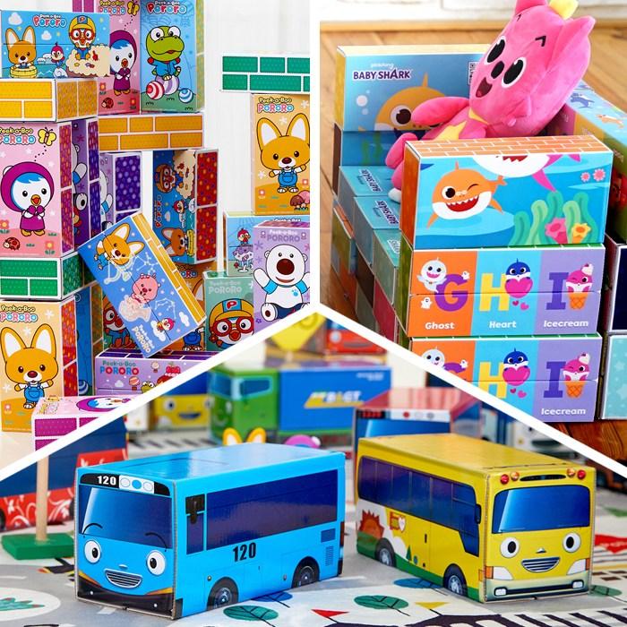 뽀로로 타요 핑크퐁 아기상어 종이블럭 (중형 대형) 아기 영아 종이벽돌 블럭, 1-1 뽀로로 종이블럭(중형30pcs)