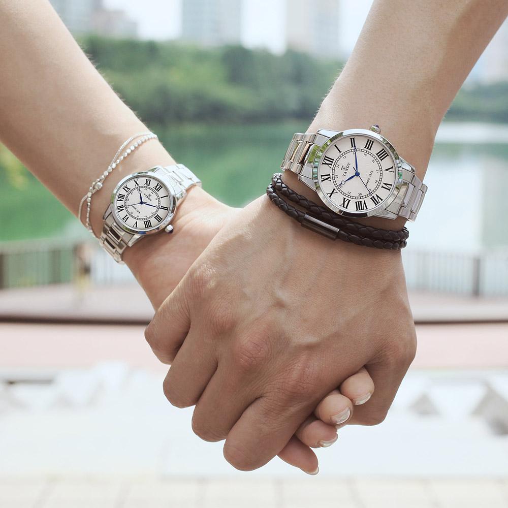 탠디 TANDY 클래식 커플 메탈 손목시계 T-3714 화이트 남녀 택1(탠디 쇼핑백 증정)