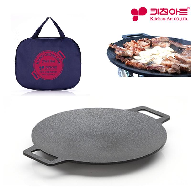 키친아트 라운드 멀티그릴팬+전용가방 25cm 구이 볶음 캠핑 고기불판