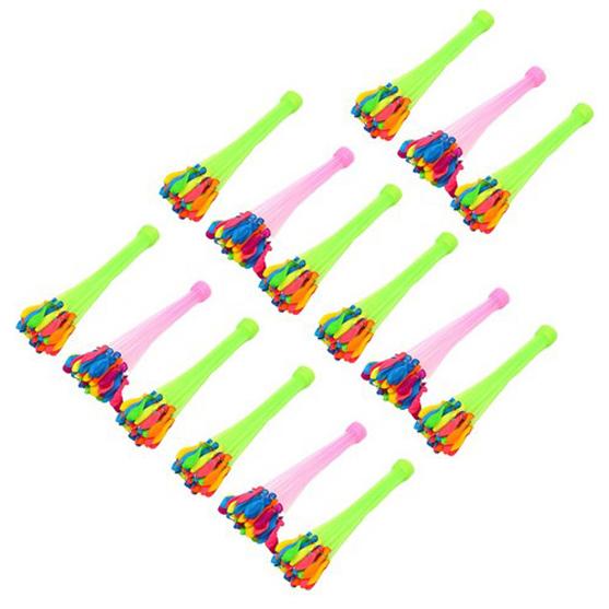 자동 물풍선 제조기 37p*15세트 555개 다발 물폭탄 유아 물풍선 만들기 장난감 세트 물놀이 놀이 필수품 각종 행사용 워터 벌룬 제조기, 15세트, 혼합색상 (POP 5172470974)