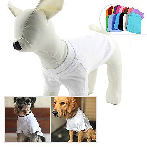 2018 애완 동물 의류 개복 빈 티셔츠 티셔츠 중소형 중형견 용 100 % 코튼 개 티즈 클래식 (S 화이트) 2018 Pet Clothing Dog Clothes Blank, 1set