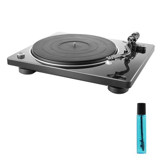 데논 DP-400 턴테이블 + 카트리지 클리닝액, 블랙