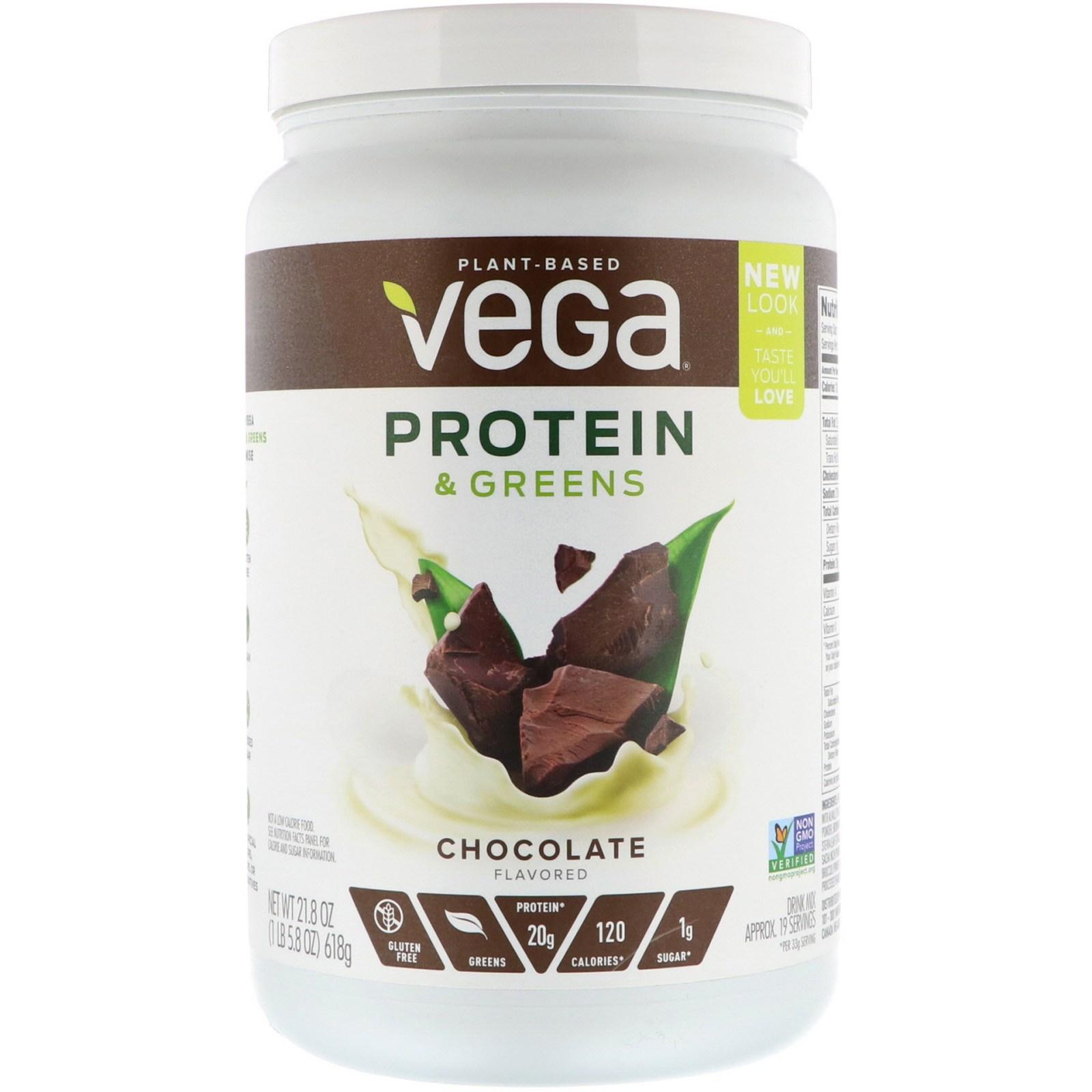 베가 프로틴 앤 그린스 초콜릿 맛 21.8 oz 618g 식물성 단백질, 1개, -