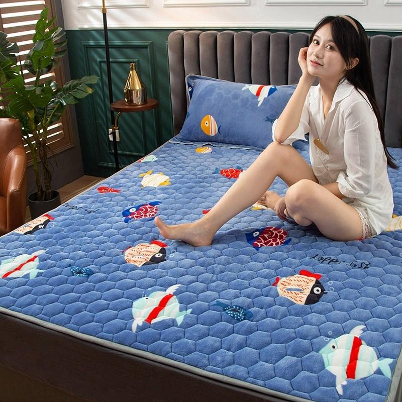 토퍼 템퍼 매트리스 침구 기타 겨울 기모 쿠션 학생 기숙사 싱글 담요 침대, AT_0.9 x 2m