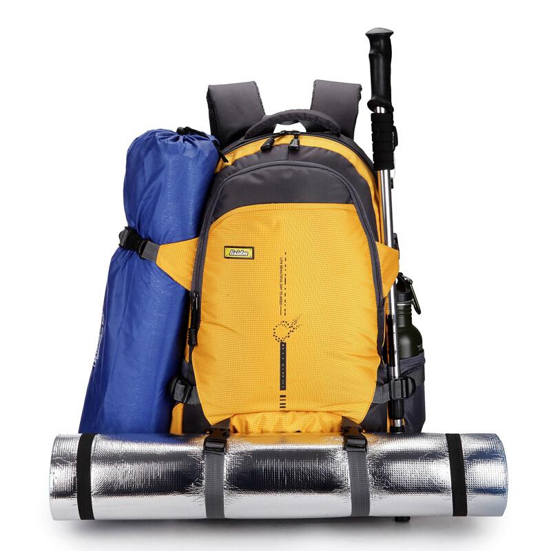 아웃 도 어 초 경 량 대 용량 가방 45L 여행 방수 등산 가방 여자 스포츠 가방 더 블 숄 더 백 팩 남 짐 가방 노란색, 상세페이지 참조