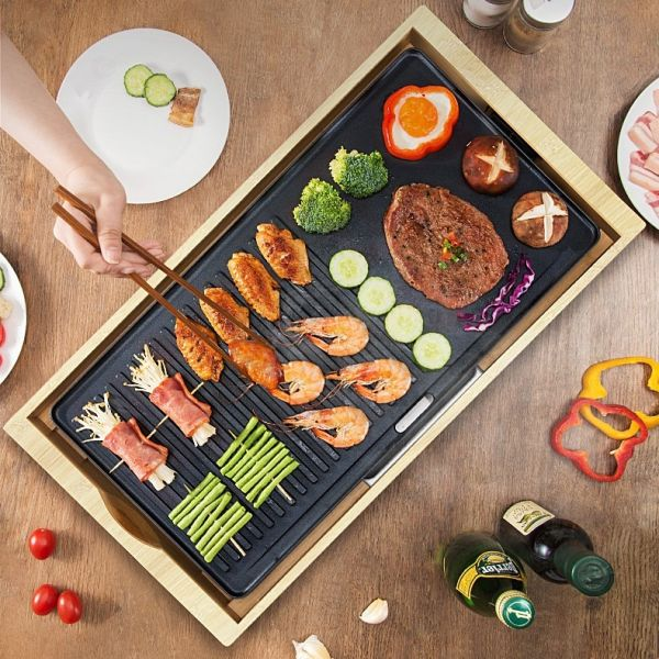 Meiling 연기안나는 전부치는팬 와일드 한혜진 불판 고기판 박세리 닭꼬치 전기그릴[대형], 대형 58x30x6cm, 단일색상