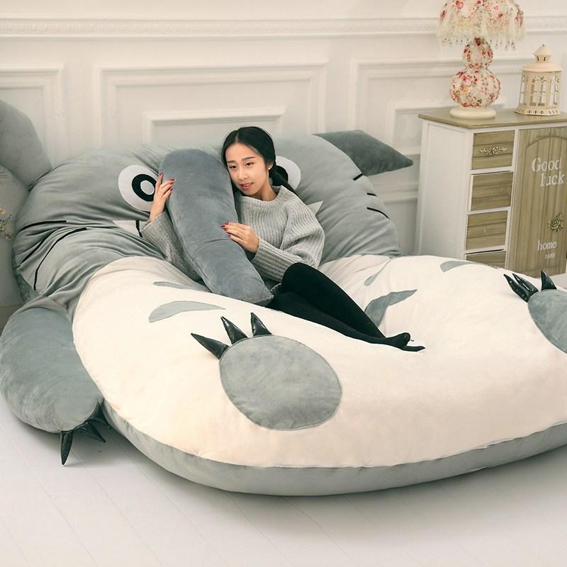 고양이 침대 토토로 싱글 귀여운 소파 1인용 다다미 매트리스 귀여운 아이디어 침실 등받이 침대 선물 의자, 단일 두껍게 2 * 1.4