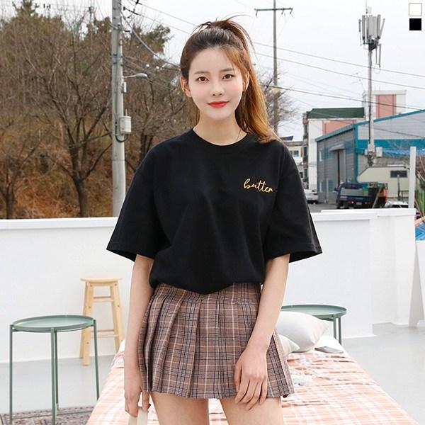 티데일리 남녀공용 앙버터 20수 오버핏 반팔 라운드 티셔츠 반소매