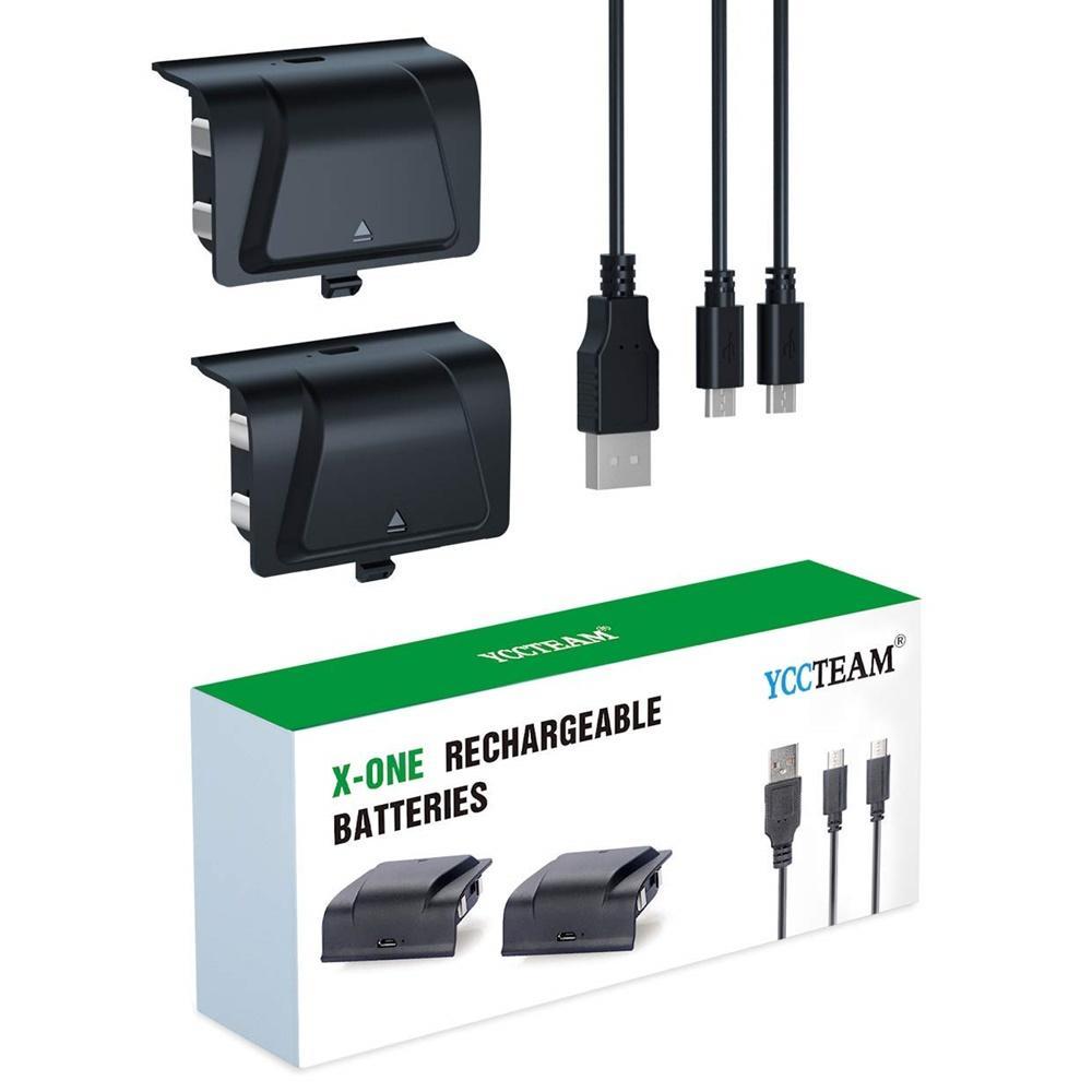 by YCCTEAM Xbox One 배터리 팩 충전식 공식 S X Elite 컨트롤러 용 2pcs 1200 mAh 충전식 배터리가 장착 된 충전기 통합 업그레이드, 1개, 단일상품
