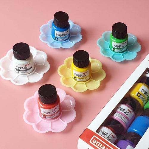 엄마와놀자 섬유 패브릭 물감 20ml 8색 세트 염색물감 천아트 섬유물감