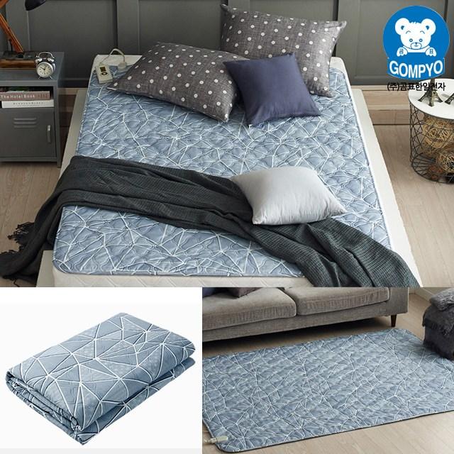 전자파 안심 전기요 침대용 거실용 캠핑용 전기장판 1인용 2인용, 소형(67.5cm × 180cm), 크로크 그레이