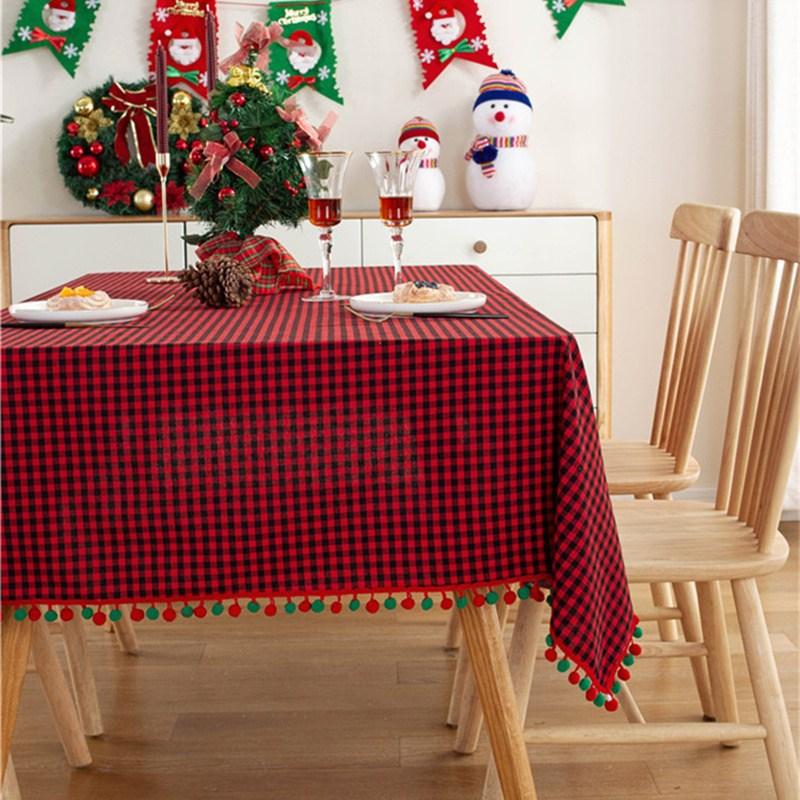 해외 크리스마스 식탁보 테이블보빈티지 체크 테이블보 북유럽 ins 직사각형 레스토랑 크리스마스 데이 부스-10368, 01.90X90cm, 옵션05