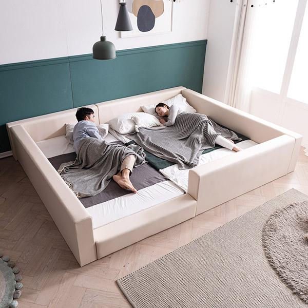 [삼익가구]데니 벙커형 패밀리 침대 Q+SS(슬립웰 7존 독립 매트), 아이보리