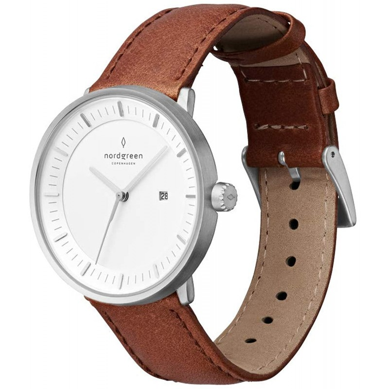 Nordgreen 노드 그린] [Philosopher] 남성 실버 북유럽 디자인 시계 40mm 브라운 가죽 스트랩