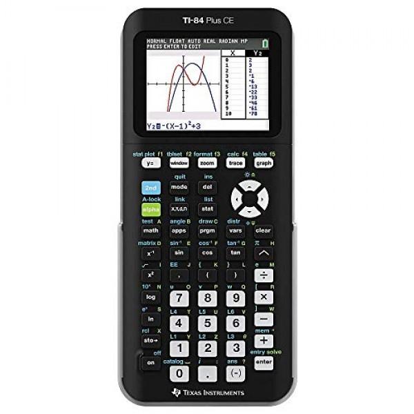 텍사스 인스트루먼트 TI-84 플러스 세륨 색 그래프 계산기 블랙, 단일옵션
