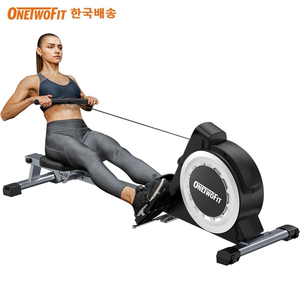 OneTwoFit 로잉머신 근력 유산소 전신운동 가정용 로잉머신 접이식 노젓기 운동기구, 화이트 (POP 5647783426)