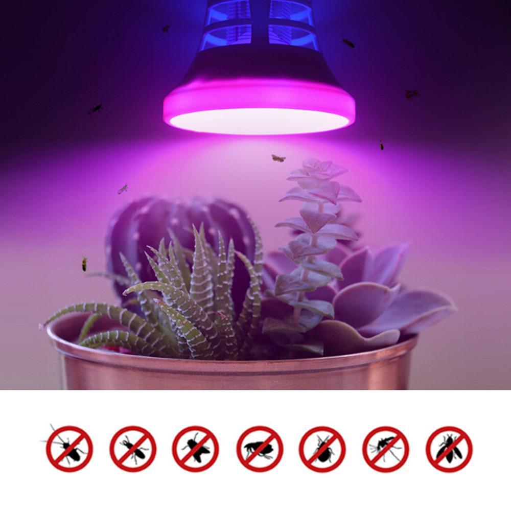 HIMISS LED 식물 성장 빛 전기 충격 유형 모기 킬러 전구 정원 장식 램프, [1] [E27 220V]^