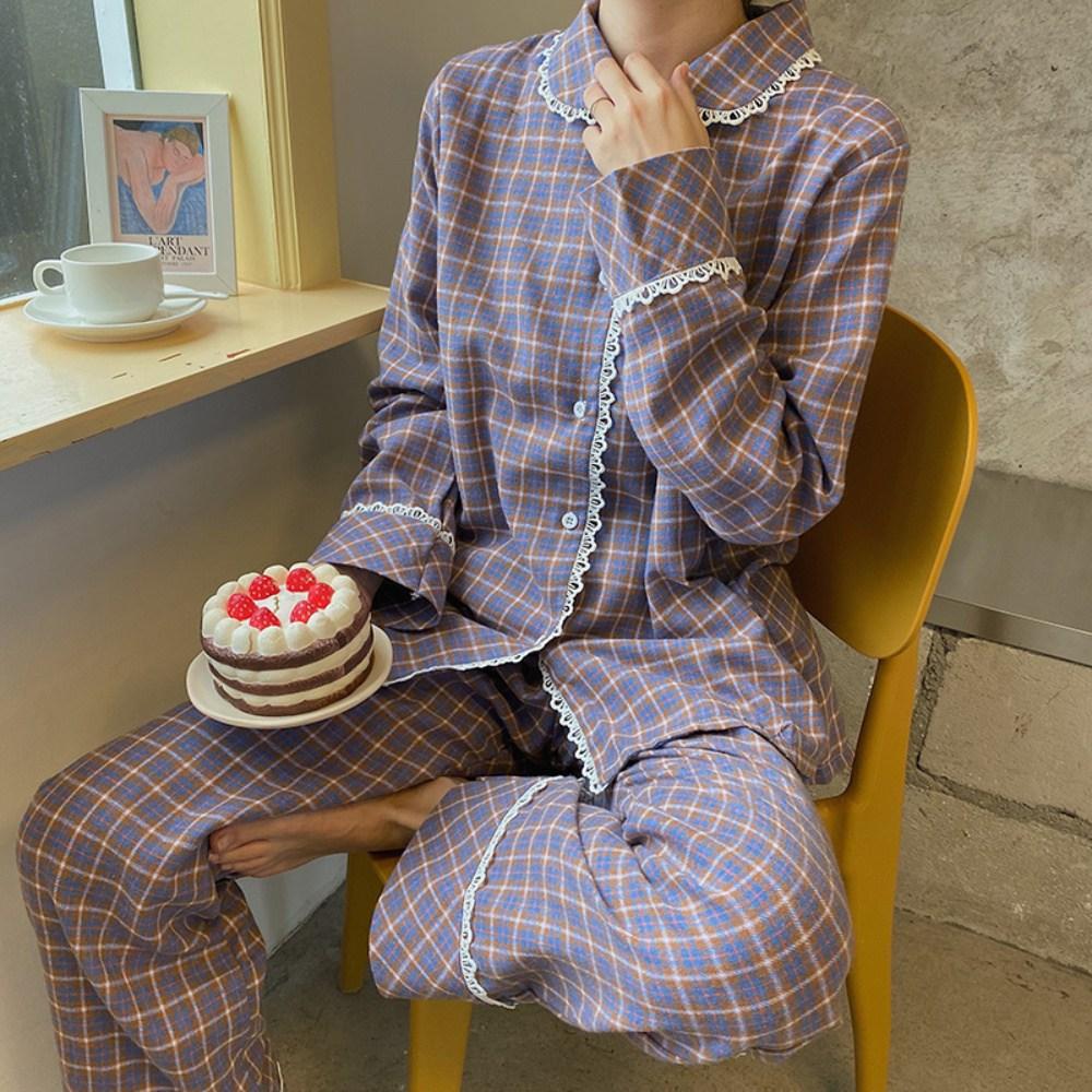 제이 체크 기모 면 여성잠옷 세트 투피스 홈웨어