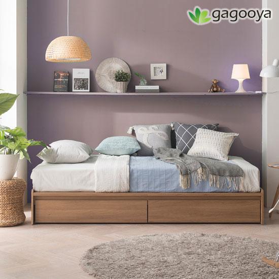 [가구야] 기간한정! 통깔판 서랍형 침대+매트리스, 싱글(오크)